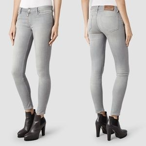 All Saints Track Jean in Washed Grey Skinny Gray